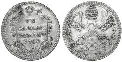 World Coins - Papal States Pius VI 1775-1799 Carlino 1780  Rare. UNC