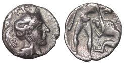 Ancient Coins - Calabria, Tarentum (Taras). AR diobol. 380-325 BC. Iridescent toned patina. XF