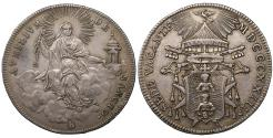 World Coins - Papal States Camerlengo Cardinal Pacca Sede Vacante. 1/2 Scudo  XF\UNC