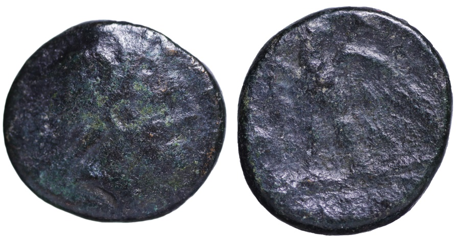 Ancient Coins - MACEDONIA Thessalonika, AE19. Zeus right. O:\ eagle with open wings