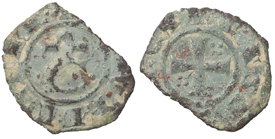 World Coins - SICILY CORRADO II 1254-1258 AD. Denaro. Brindisi R3