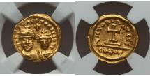 Ancient Coins - Heraclius, with Heraclius Constantine. Gold solidus (AD 617/8) NGC Rare XF 4/5 - 3/5