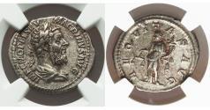 Ancient Coins - Macrinus. 217-218 AD. Denarius Rare. NGC XF