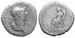 Ancient Coins - Trajan AD 98-117 Silver Denarius VF\XF Fortuna