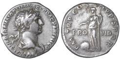 Ancient Coins - TRAJAN (98-117). Denarius. Rome  Providentia XF+