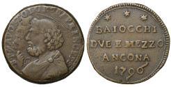 World Coins - Papal States Pope Pius VI 1775-1799 Ancona Sampietrino Rare VF+