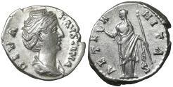 Ancient Coins - Diva Faustina I 140/1 Denarius Rome Near mint state, lustrous.