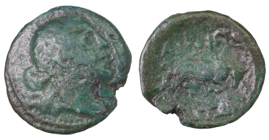 Ancient Coins - Macedonia, Amphipolis. 187-31 BC. AE20 Artemis \ bull bounding right.