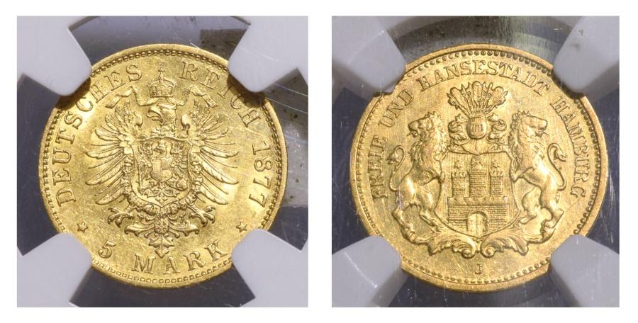 World Coins - NGC GERMANY. HAMBURG. 5 GOLD MARK 1877J. AU