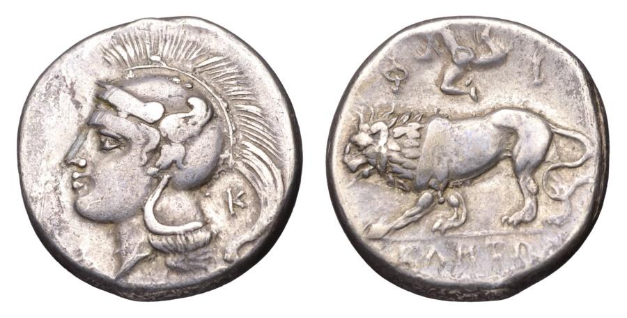 Ancient Coins - LUCANIA VELIA 300-280 BC. NOMOS. Athena / Lion RARE