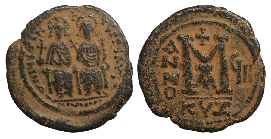 Ancient Coins - Justin II with Sophia 565-578 AD AE Follis VF+ \ Byzantine coins