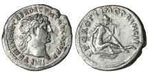 Ancient Coins - TRAJAN 98-117 AD Silver Denarius \ Dacia seated \ XF \ Roman coin