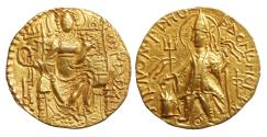 Kushan Empire Vashishka Gold Dinar Gandhara AD 247-267 XF\UNC
