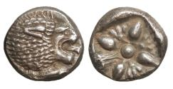 Ancient Coins - Ionia Miletos 510-494 BC AR Diobol UNC \ Silver Greek Coins