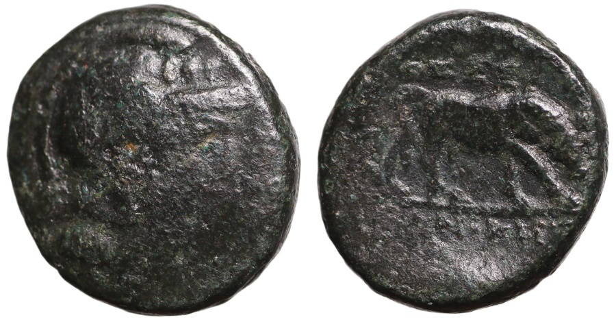 Ancient Coins - Thessalonica, Macedonia, AE19 Athena \ bull butting right