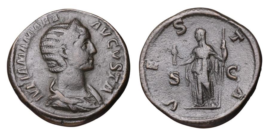 Ancient Coins - Julia Mamaea. 231-235 AD. AE Sestertius VESTA SC