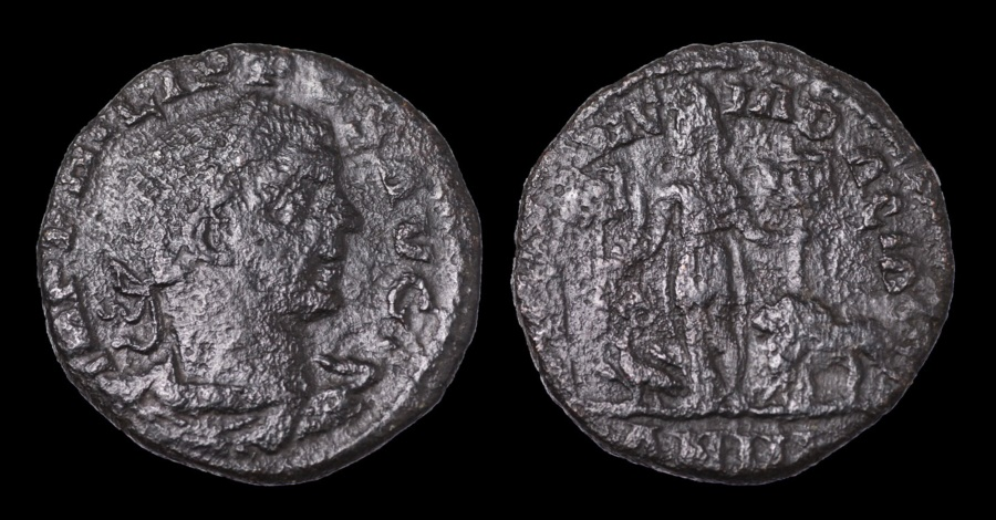 Ancient Coins - DACIA. Philip I. AD 244-249. AE27 Struck in AD 246 Dacia standing holding sword VF DARK BROWN PATINA