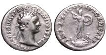 Ancient Coins - DOMITIAN 81-96 AD. DENARIUS Minerva advancing right VF+