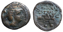 Ancient Coins - C. series. AE Sextans, c. 211-208 BC. Sardinia.   VF. Traces of overstriking.