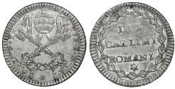 World Coins - Italy Papal State Rome Pius VI 1775-1799 2 Carlini Rare XF