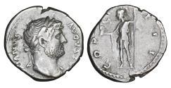 Ancient Coins - Hadrian AR Denarius Rome AD 125-128 XF+