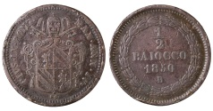 World Coins - PAPAL STATES. POPE PIUS IX°. 1848-1878 AD. 1/2 BAIOCCO.