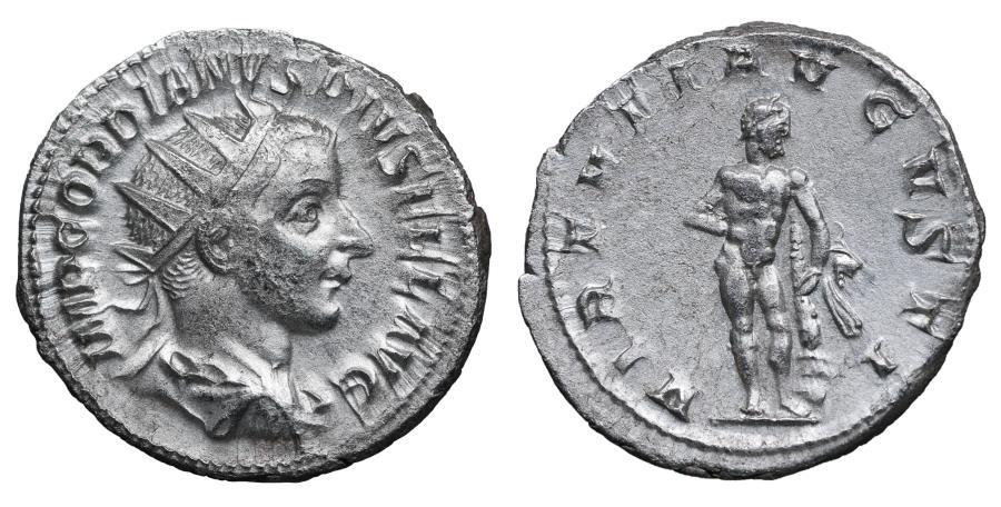 Ancient Coins - Gordian III AR Antoninianus 241-243 Fourth Issue VF/EF