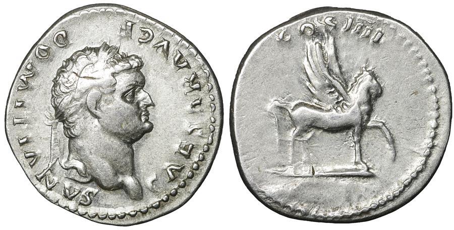 Ancient Coins - Domitian Denarius Pegasus 96 AD Rare XF