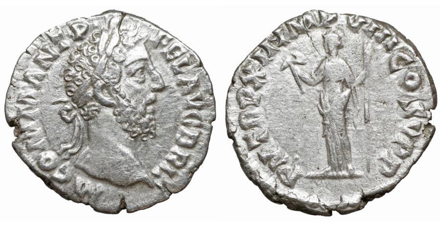 Ancient Coins - Commodus 179-192 AD Denarius XF Roma or Virtus