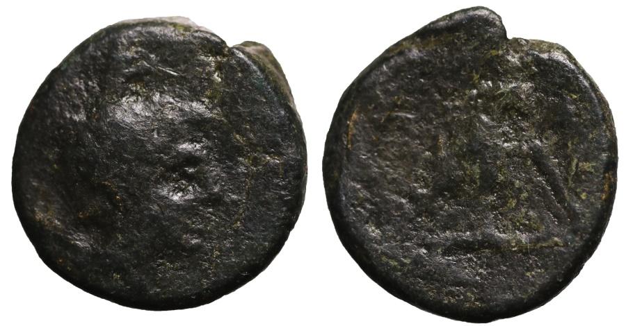 Ancient Coins - Macedon. Thessalonika, AE19. Zeus right. O:\ Eagle