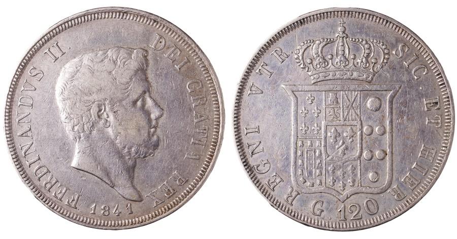 World Coins - ITALY KINGDOM OF 2 SICILY. FERDINANDO II DI BORBONE PIASTRA 1841. 1830-1859 AD. EF