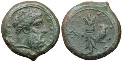 Ancient Coins - Sicily Syracuse Æ Hemidrachm Time of Timoleon 344-338 BC. XF\UNC Attractive olive-green patina.
