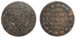 World Coins - Papal States Pius VI 1775-1799 BOLOGNA 1/2 baiocco 1781 RARE XF