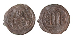 Ancient Coins - Tiberius II Constantine. 527-565 AD. AE Follis. Theupolis Mint (Antioch). VF+, brown patina. Good struck. SCARCE