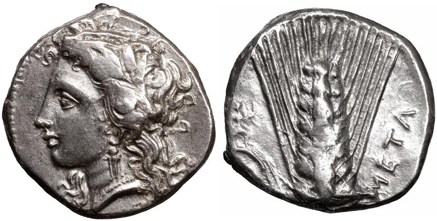 Ancient Coins - LUCANIA Metapontion 330-290 BC Nomos XF+