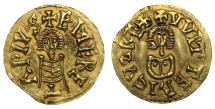 World Coins - Kingdom of Visigoth. Witteric. (603-610 d.C.). Gold Tremissis Rare XF