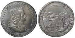 World Coins - Italy Tuscany Cosimo III de' Medici 1670-1723 AD Livorno Tollero 1697 Toned XF+