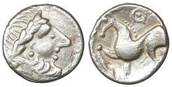 """Ancient Coins - Celts. Imitations of Philip II of Macedon 2nd-1st cent BC Drachm. """"Kugelwange"""" type XF"""