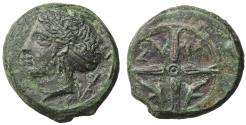 Ancient Coins - Syracuse, Sicily, Second Democracy, 415–405 BC. AE Unit Rare. XF