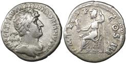 Ancient Coins - Hadrian Denarius 123 AD Roma seated VF\XF