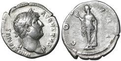 Ancient Coins - Hadrian. 117-138 AD. Denarius, Rome, AD 125-128.  Good portrait. XF
