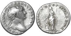 Ancient Coins - Trajan 98-117 AD Denarius Pietas aXF \ Roman Coin
