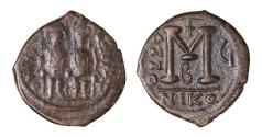 Ancient Coins - Justin II Follis, struck AD 570/571. Mint of Nicomedia.
