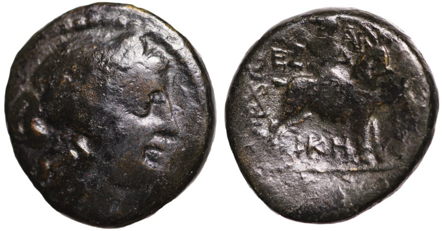 Ancient Coins - Thessalonica, Macedonia, AE19 head of Athena\ bull butting right