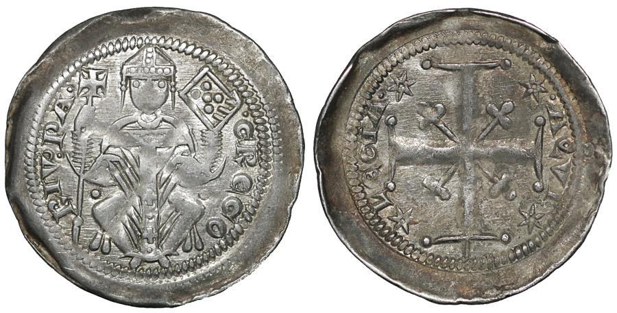 World Coins - Italy Aquileia Gregorio di Montelongo 1251-1269 Denar RR XF+