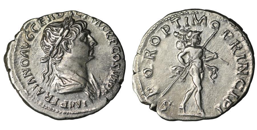 Ancient Coins - Trajan Denarius 112-114 AD \ Mars \ XF