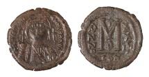 Justinian I AE Follis Constantinople 554/555 AD aEF, brown patina. Good struck