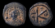 Ancient Coins - MAURICE TIBERIUS. 582-602 AD. AE HALF FOLLIS. 20 NUMMI. 585 AD EF beautiful struck for this issue