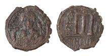 Maurice Tiberius. AE Follis. Theupolis Mint 583/584 AD VF+, brown patina. Good struck.