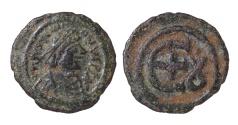 Ancient Coins - JUSTINIAN I. 527-565 AD. AE PENTANUMMIUM. 5 NUMMI. Mint of Theoupolis (Antioch). EF